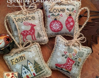 Counted Cross Stitch Pattern, Spirit of Christmas - Set 1, Christmas Ornaments, Ornament Pillows, Inspirational, Lila's Studio, PATTERN ONLY