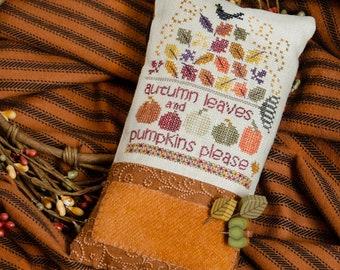 Counted Cross Stitch Pattern, Pumpkins Please, Fall Decor, Autumn Decor, Fall Pin Pillow, Pin Keep, Erica Michaels, PATTERN ONLY