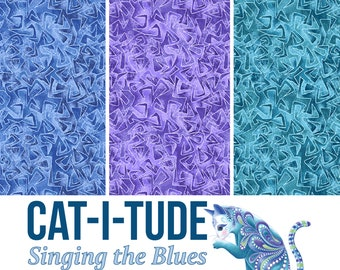 Quilt Fabric, Cat-I-Tude, Triangular Motion, Tonal Blender, Quilters Cotton, Singing the Blues, Fabric, Ann Lauer, Grizzly Gulch, Benartex