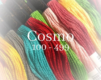 Cosmo, 100 - 499, 6 Strand Cotton Floss, Size 25, Embroidery Floss, Cross Stitch Floss, Punch Needle, Embroidery, Wool Applique, Quilting
