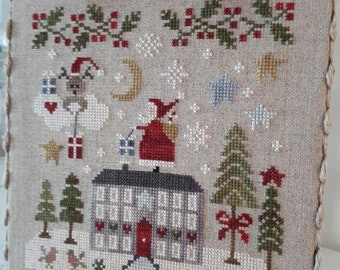 Counted Cross Stitch Pattern, Merry Christmas, Christmas Decor, Rooftop Santa, Reindeer, Snowflake, Collection Tralala, TraLaLa PATTERN ONLY