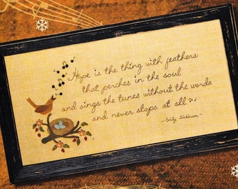 Wool Applique Pattern, Emily's Hope, Wool Applique Stitchery, Spring Decor, Primitive Decor, Framed Poem Verse, Nutmeg Hare, PATTERN ONLY