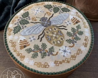 Counted Cross Stitch Pattern, Sleeping Bee, Evergreen, Winter Flowers, Winter Decor, Pine Branches, Bee Skep, The Blue Flower, PATTERN ONLY