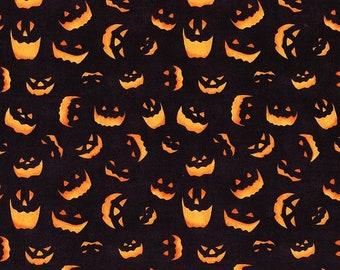 Quilt Fabric, Haunted Night, Black Spooky Faces, Halloween Fabric, Quilt Fabric, Halloween Decor, Danielle Leon, Wilmington Prints