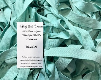 """Twill Tape, Bloom, Lady Dot Creates, 3/4"""" Twill Tape, Hand Dyed Twill, Cotton Twill, Sewing Notion, Sewing Accessory, Sewing Trim"""
