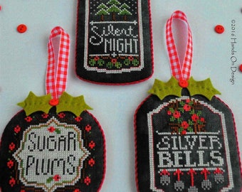 Counted Cross Stitch Pattern, Chalkboard Ornaments, Christmas Collection Three, Chalk Board Ornaments, Hands On Design, PATTERN ONLY