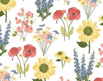 Quilt Fabric, Prairie Sisters, Milly White, Milly Flowers, 100% Cotton, Quilter Cotton, Premium Cotton, Lori Woods, Poppie Cotton