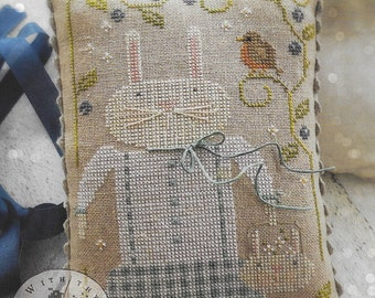 Counted Cross Stitch Pattern, Harietta & Co, Spring Decor, Easter Bunny, Robin, Spring Bunny, Primitive Decor, Brenda Gervais, PATTERN ONLY