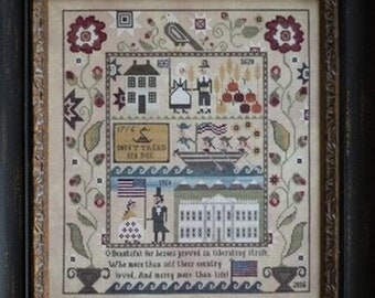 Counted Cross Stitch Pattern, Heritage Sampler, White House, Independence, Patriotic, Flag, Eagle, Plum Street Samplers, PATTERN ONLY