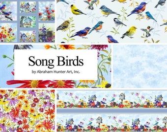 Quilt Fabric, Song Birds, Birdhouses, Bluebirds, Chickadees, Goldfinch, Garden Decor, Floral, Coneflowers, Abraham Hunter Art, P&B Textiles