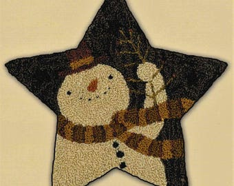 Punch Needle Pattern, Star Shaped Snowman, Primitive Decor, Snowman, Winter Decor, Teresa Kogut, Punch Needle Embroidery, PATTERN ONLY