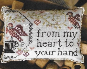 Counted Cross Stitch Pattern, Sewn in Friendship, Pin Keep, Pincushion, Friend Gift, Primitive Decor, Plum Street Samplers, PATTERN ONLY