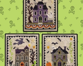 Counted Cross Stitch Pattern, Haunted House Trio, Halloween Decor, Black Cat, Bat, Jack O'Lantern, Waxing Moon Designs, PATTERN ONLY