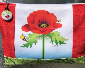 Red Poppy, Yellow Bees, Project Bag, Cosmetic Bag, Zippered Project Bag, Makeup Bag, Needlework Project Bag, Make Up Bag, Crochet Bag