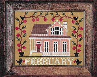 Counted Cross Stitch Pattern, February Cottage, I'll Be Home Series, Valentine Decor, Country Rustic, Twin Peak Primitives, PATTERN ONLY