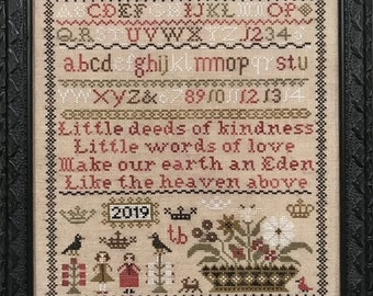 PRE-Order, Counted Cross Stitch Pattern, Little Deeds, Sampler, Primitive Decor, Inspirational, The Scarlett House, PATTERN ONLY