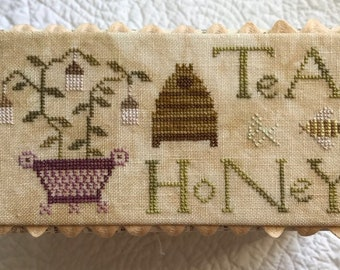 Counted Cross Stitch Pattern, The Tea Box, Tea Honey Box, Summer Decor, Primitive, Lucy Beam, Love in Stitches, Rebecca Noland, PATTERN ONLY