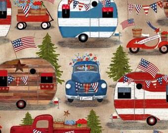 Quilt Fabric, American Spirit, American Camping, Patriotic Fabric, Americana, Cotton, Quilter Cotton, Premium Cotton, Beth Albert Fabric
