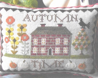 Counted Cross Stitch Pattern, Autumn Time, Fall Decor, Sunflowers, Pumpkins, Cottage Decor, Shabby Decor, Abby Rose Designs, PATTERN ONLY