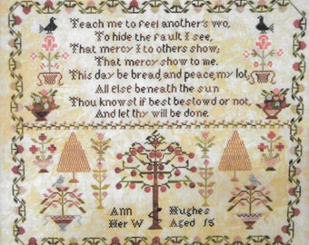 Counted Cross Stitch Pattern, Ann Hughes, Antique Reproduction, Reproduction Sampler, Inspirational, Abby Rose Designs, PATTERN ONLY