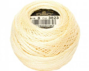 DMC Perle Cotton, Size 8, DMC 3823, Ultra Pale Yellow, Pearl Cotton Ball, Embroidery Thread, Punch Needle, Penny Rug, Wool Applique