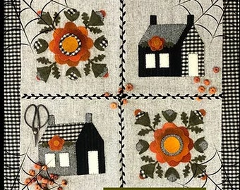 Wool Applique Pattern, Sweet Potato Pie Four Patch, Wool Candlemat, Fall Decor, Pumpkins, 1894 Cottonwood House, PATTERN ONLY