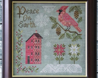 Counted Cross Stitch Pattern, Peace on Earth,  Cardinal, Saltbox House, Christmas, Inspirational, Folk Art, Cottage Garden, PATTERN ONLY