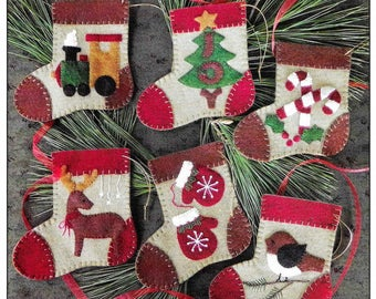 Wool Applique Pattern and Kit, Warm Feet, Christmas Stocking Ornaments, Wool Kit, Christmas Decor, Rachel's of Greenfield, PATTERN AND KIT