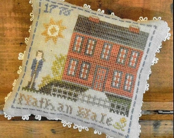 Counted Cross Stitch Pattern, Early Americans, No 4, Nathan Hale, Little House Needleworks, Cross Stitch Pillow, PATTERN ONLY