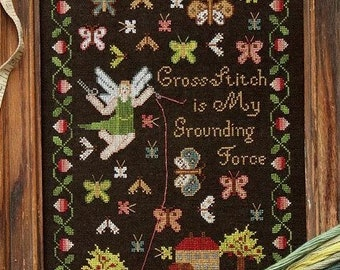 PRE-Order, Counted Cross Stitch Pattern, Grounding Force, Inspirational, Sampler, Angel, Butterflies, Heartstring Samplery, PATTERN ONLY