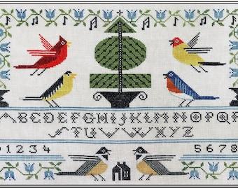 Counted Cross Stitch Pattern, Songbird Sampler, American Goldfinch, Bluebird, Chickadees, Garden Decor, Artful Offerings, PATTERN ONLY