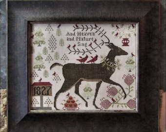 Counted Cross Stitch Pattern, And Heaven and Nature Sing, Reindeer, Cardinals, Christmas Hymn, Inspirational, Kathy Barrick, PATTERN ONLY