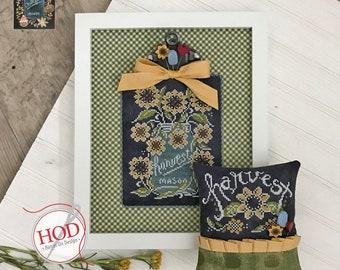 Cross Stitch Pattern, Chalk Full, Harvest, Chalk Artwork, Sunflowers, Mason Jar, Farmhouse, Summer, Country, Hands On Design, PATTERN ONLY
