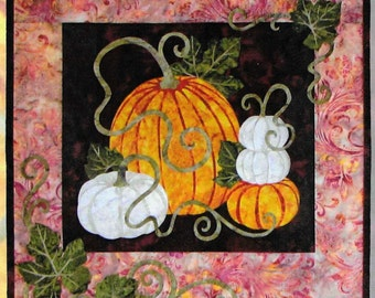 Quilt Pattern, Pumpkin Patch, Fall Decor, Autumn Pumpkins, Quilted Wall Hanging, Wildfire Alaska, Applique Quilt, Autumn Decor, PATTERN ONLY
