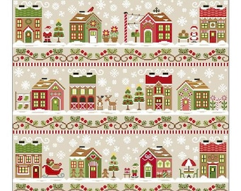 Counted Cross Stitch, Santa's Village, Santa, Poinsettia, Reindeer, Christmas Decor, Cottage Chic, Country Cottage Needleworks, PATTERN ONLY