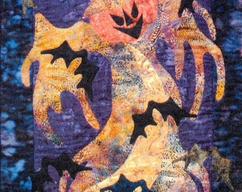 Quilt Pattern, Dancing with Bats, Halloween Decor, Halloween Pumpkin, Scarecrow, Bats, Applique Quilt, Dandelion Seed Design, PATTERN ONLY