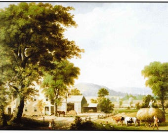 Counted Cross Stitch, Haying at Jones Inn, Landscape, Farmhouse Decor, Architecture, George Henry Durrie, Cross Stitch Pattern, PATTERN ONLY