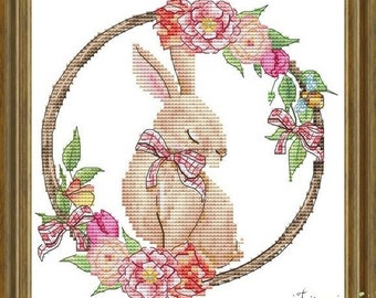 Counted Cross Stitch Pattern, Spring's Rabbit, Spring Decor, Easter Decor, Shabby Cottage Chic, Les Petites Croix de Lucie, PATTERN ONLY