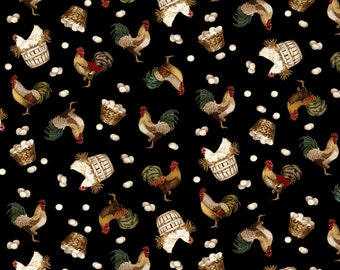 Quilt Fabric, Count Your Blessings, Roosters, Hens, Eggs, Egg Laying, Farm, Cotton Quilting Fabric, Color Principle, Henry Glass Fabrics