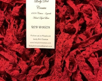 Cotton Lace Trim, Lady Dot Creates, Red Wagon, Hand Dyed Lace, Cotton Lace, Red Lace, Sewing Notion, Sewing Accessory, Sewing Trim