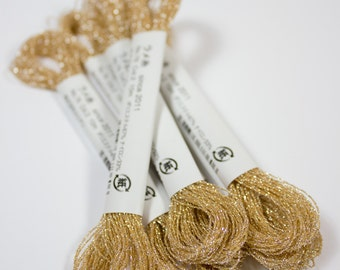 Cosmo, Sparkle Floss, 76-2,  Single Strand Metallic Floss, Champagne Gold Embroidery Floss, Embroidery, Penny Rug, Sewing Accessory