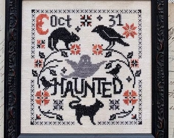 Counted Cross Stitch Pattern, Haunted, Halloween, Black Cat, Ghosts, Pumpkin, Raven, Primitive Decor, Luminous Fiber Arts, PATTERN ONLY