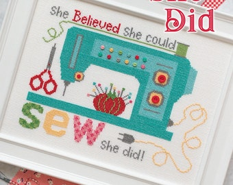 Cross Stitch Pattern, Sew She Did, Sewing Machine, Pincushion, Scissors, Vintage Style, Bee in My Bonnet, Lori Holt, PATTERN ONLY