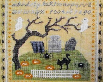 Counted Cross Stitch Pattern, Creepy Halloween, Halloween Cross Stitch, Halloween Sampler, Black Cat, Ghosts, Thistles, PATTERN ONLY