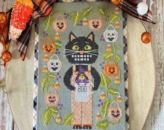Counted Cross Stitch Pattern, Calvin & Trixie, Black Cat, Witch, Candy Corn, Pumpkin, Stitching with the Housewives, PATTERN ONLY