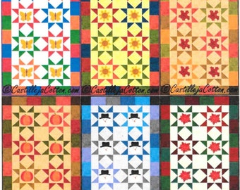 Quilt Pattern, Starry, Seasonal Quilt, Table Runner, Pieced Quilt, Appliqued Quilt, Yearly, Wall Hanging, Castilleja Cotton, PATTERN ONLY