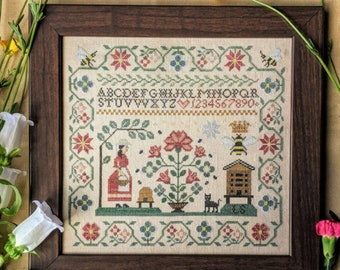Counted Cross Stitch, Miss B's Apiary, Bees, Bee Skep, Honey House, Flowers, Garden Decor, Honey Bees, Lila's Studio,  PATTERN ONLY