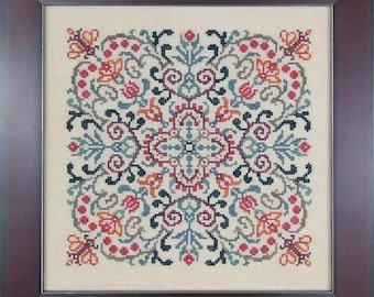 Counted Cross Stitch Pattern, Lace Flowers, Garden Decor, Cottage Chic, Shabby Cottage, Medallion Design, Ink Circles, PATTERN ONLY
