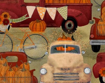 Quilt Fabric, Harvest Campers, Pick Up Trucks, Pumpkins, Fall Decor, Autumn Decor, Country Rustic, Farmhouse, 3 Wishes, Beth Albert