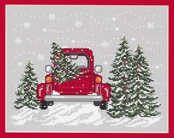 Counted Cross Stitch Pattern, Bringing Home the Tree, Christmas Decor, Winter, Pick Up Truck, Evergreen, Sue Hillis Designs, PATTERN ONLY